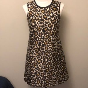 NWOT J Crew sz 4 leopard print black dress